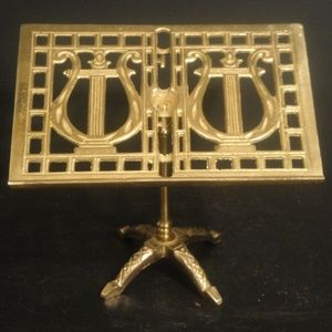 Brass Harp Art Music Display Stand-Guest Book